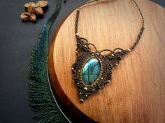 Labradorite macrame necklace. Bohemian by EarthBoundMacrame