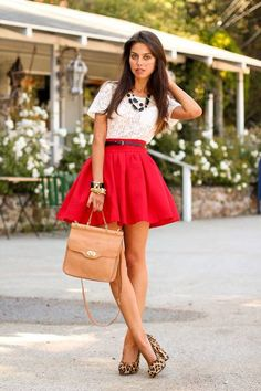 lace top   red circle skirt