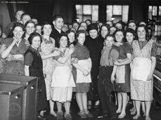 A Soviet Union trade union delegation visited Britain 30th December 1941 - 9th February 1942, touring factories and other workplaces around the  country. This photograph shows their visit to a cotton mill in Lancashire. In London, the delegation met the Prime Minister and made a  BBC radio broadcast.