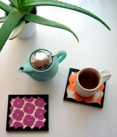 diy project: kate's pretty paper coaster/trivets – Design*Sponge Cd Case Crafts, Cd Crafts, Recycled Crafts, Creative Crafts, Colored Masking Tape, Mini Vasos, Sous Bock, Cd Diy, Earth Day Crafts