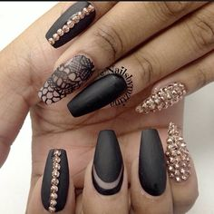 .@nailsbymztina   Matte black with hand painted lace for the lovely @Nyrelle Robinson   Webstagram