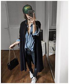 "Audrey on Instagram: ""Soirée filles et tenue 100% française • Coat & cap #modetrotter (from @modetrotter) • Shirt & Bag #sezane (from @Sezane) • Jean #reiko (from @reikojeans) • Sneakers #stansmith ..."""