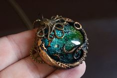 Steampunk Polymer clay & Glass Necklace