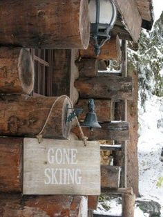 Wooden Gone Skiing Sign by Garden Trading