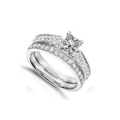 inexpensive wedding rings sets | Home > Wedding Sets > Inexpensive Antique Diamond Wedding Ring Set on ...
