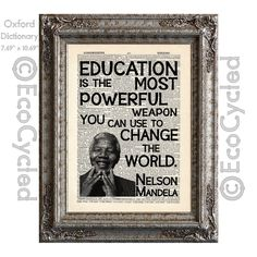 Nelson Mandela Education Quote Change the World on Vintage Upcycled Recycled Dictionary Art Print Book Art Print (10.00 USD) by EcoCycled