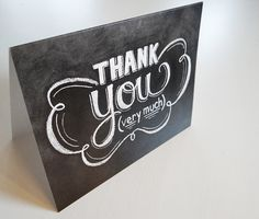 Hand Lettering - Chalkboard Thank You Card - Chalkboard Notecard - Thank You Very Much Card - Hand Lettered Thank You Card - Chalk Art
