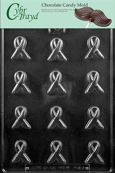 Cybrtrayd M210 Bite Size Awareness Ribbon Chocolate Candy Mold with Exclusive Cybrtrayd Copyrighted Chocolate Molding Instructions