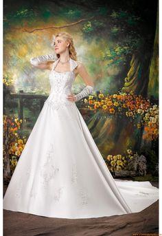 Moderne prinses halter kapel sleep appliques satijnen trouwjurk