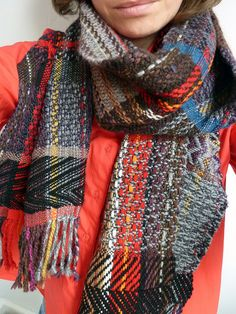 Handwoven scarf by Ilse Acke - love all the colours and patterns in this