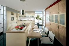 Furniture, Kitchen Cabinet Kitchen Appliances Dining Table Dining Chairs Pendant Lamp ~ German Kitchens Full of Lightings