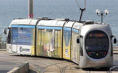 The line reaches inland to Athens city centre from the coastal strip near Mouson. Athens Tram, Greece