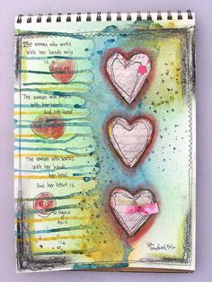 Heart doodle art watercolor journal, scrapbook, smash book, project life, c Art Journal Pages, Art Pages, Art Journals, Journal Cards, Artist Journal, Kunstjournal Inspiration, Art Journal Inspiration, Creative Inspiration, Altered Books