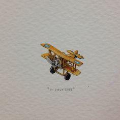 Lorraine Loots: Tiny Watercolor Vintage Biplane