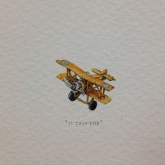 Day 188 : A biplane for Blake on his very first birthday - the wisest little man I know (except for that thing with the electrical sockets, we'll let that slide for now). 19 x 15 mm. #365paintingsforants #miniature #watercolour #biplane cc @livyfox