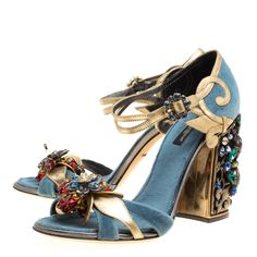 f34fd3bee Dolce and Gabbana Blue Velvet and Metallic Gold Leather Crystal Embellished  Heel Ankle Strap Sandals Size 38