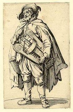 "Jaques Callo c1624 print - Custom Hurdy Gurdy based on a 1623 print ""Beggar Playing Hurdy Gurdy"" by Jaques Callot."