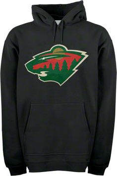 Image for Minnesota Wild Black Old Time Hockey Big Logo Hooded Fleece Sweatshirt from Scheels