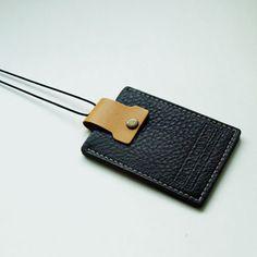 Sostenedor de cuero genuin de la tarjeta de identificación / tarjetas de transporte titular / hecho a mano