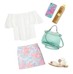 """""""Almost that time again"""" by delaneymryan on Polyvore featuring Lilly Pulitzer, Valentino, Jack Rogers, Fendi and Sun Bum"""