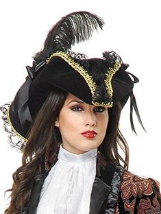 541de2ffe21 Women s Gorgeous Lacey Black Tricorn Pirate Hat Trimmed with Gold Braid and  Accented with Black Lace