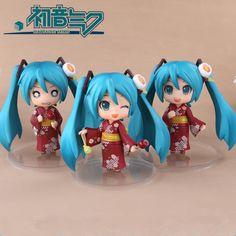 27.46$  Buy here - http://aliufp.shopchina.info/go.php?t=32687363415 - 3PCS/Set Kawaii Anime Hatsune Miku Action Figure Sakura Miku PVC Anime Collectible Model Toy Doll 10CM Nendoroid for Kids  #buymethat