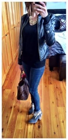 Casual Friday outfit - Anthropologie ankle boots, skinny jeans, leather jacket