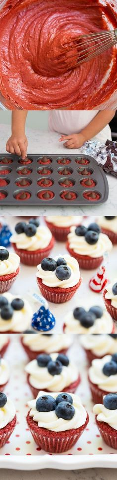 Red velvet brownie cups with cream cheese frosting