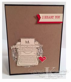 "Hi, I Heart You is made with Stampin' Up's ""Tap Tap Tap,"" ""And Many More,"" and ""Pictogram Punches"" stamp sets."