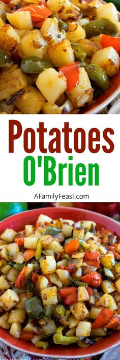 O'Brien Potatoes O'Brien is a classic side dish dating back to the early made from fried, diced potatoes, plus red and green bell peppers and other seasonings.Potatoes O'Brien is a classic side dish dating back to the early made from fried, d Potato Dishes, Potato Recipes, Vegetable Recipes, Vegetarian Recipes, Cooking Recipes, Healthy Recipes, Potato Ideas, Veggie Meals, Broccoli Recipes