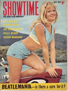 """Never saw this magazine before...from May 1964.  I had to pin it...love the line at the bottom of the page """"Beatlemania--is there a cure for it?"""" hahaha!  Hayley Mills on the cover."""