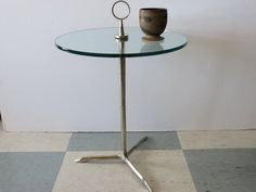 Mid-Century Modern Aluminum And Glass Tripod Pedestal/Side Table With Handle. by FLORIDAMODERN on Etsy
