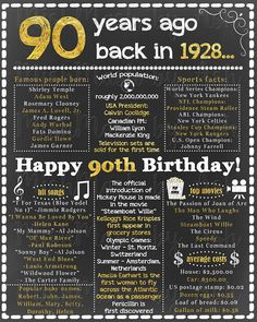 90th Birthday for Her, 1928 Birthday Sign, Back in 1928, Happy 90th Birthday, 90th Birthday Sign, 90th Birthday For Him, 90th Birthday Gold