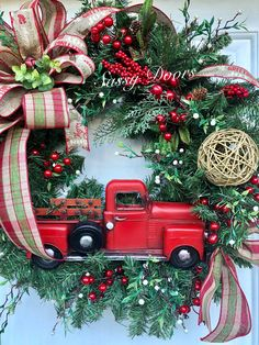 A personal favorite from my Etsy shop https://www.etsy.com/listing/550457804/christmas-wreath-red-truck-christmas