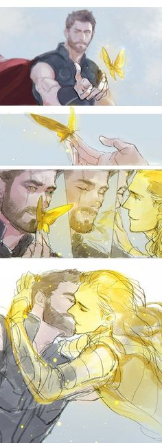 Read Thorki 2 from the story Yaoi marvel by with reads. Marvel 3, Marvel Universe, Marvel Fan Art, Disney Marvel, Loki Fan Art, Thor X Loki, Loki Laufeyson, Yuri, Batman Y Superman