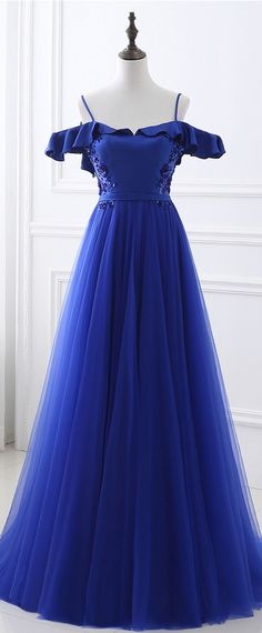In Stock Stunning Tulle & Satin Spaghetti Straps Neckline Backless A-line Prom Dresses With Beadings