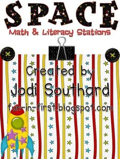 This packet includes 12 Space Themed Math and Literacy Centers Literacy & 6 Math). These centers meet many Common Core Standards. Each station. Math Literacy, Literacy Stations, Literacy Centers, Space Activities, Science Activities, Science Ideas, Preschool Ideas, Summer Activities, School Wide Themes