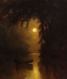 Boating by Moonlight, 1878 by Arthur Parton  (b. 1842; Hudson, New York – d. 1914, New York City, New York) Oil on canvas, 14 x 12 in. Bio: http://www.invaluable.com/artist/parton-arthur-depqvmcj71 Art: http://fada.com/image/15024/boating-by-moonlight/