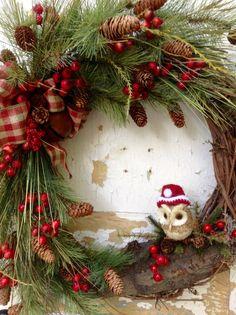 Christmas Wreath Christmas Owl Wreath Holiday by FlowerPowerOhio