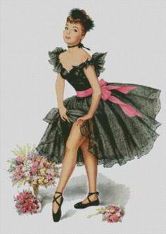 Darcy Used Cars Cross stitch chart, pattern, Vintage ballet dancer, Ballerina 40's, 50 ...