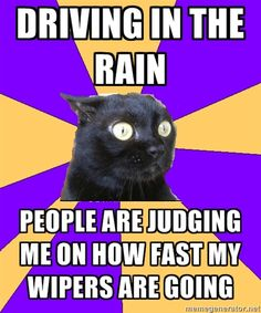 Driving in the rain, people are judging me on how fast my wipers are going....  My feeling every time it rains!