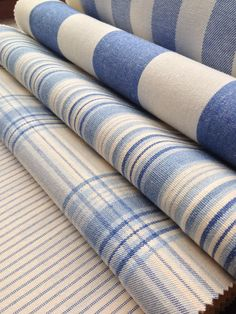 Collection: Co - Ordinated. Fabric Combinations, Woven Cotton, Home Decor Fabric, Striped Fabrics, Kitchen Tiles, Blue Fabric, Fabric Swatches, Writing Tips, Cottage Style