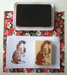 Lop-Eared Rabbit - a hand carved rubber stamp.. $15.00, via Etsy.