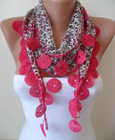 Perforated Fabric  Dark Pink Scarf  with Dark Pink by SwedishShop, $15.90