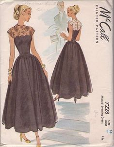 McCall 7228 Misses' Tea Length Fit & Flared Evening Dress Pattern has. McCall 7228 Misses' Tea Length Fit & Flared Evening Dress Pattern has Scalloped Bodice Topped with Sheer La Evening Dress Patterns, Vintage Dress Patterns, Evening Dresses, Formal Dress Patterns, Vintage Outfits, Retro Outfits, Vintage Dresses, 60s Dresses, Lace Dresses