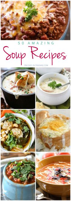 50 Amazing Soup Recipes... this list is full of delicious, unique and fantastic ideas for colder weather! You will definitely want to save it!