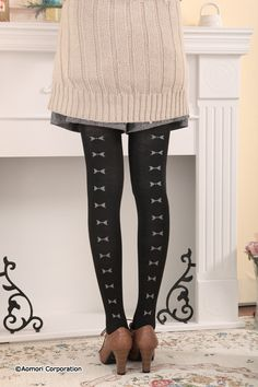Back ribbon bulky tights  bd-11a043
