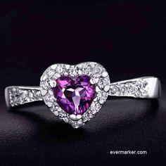 Romantic Heart Purple Crystal Women's Sterling Silver Ring...