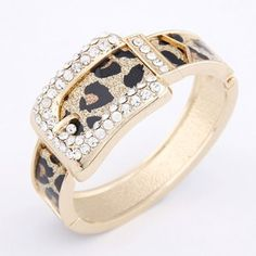 Drilling Fashion Leopard Prints Pattern Belt Design Bangle - Golden