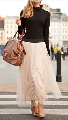 Flowing skirt dressed down.